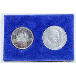 BMO 1966 Canada Silver Coin, Plus Churchill  Token