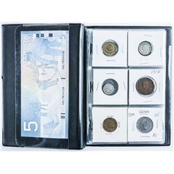 Coin Stock Book with 18 Coins and Choice UNC  Bank of Canada 5.00.