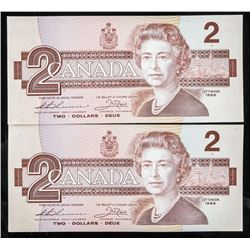 Lot (2) Bank of Canada 1986 2.00 In Sequence  (BGF)