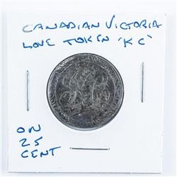 Canadian Victorian Love Token 'KC' ON 25 Cent