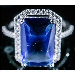 925 Sterling Silver Ring, Rectangular Cut,  Sapphire Blue Swarovski Elements. Size 6