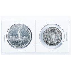 1939 Canada Silver Dollar and Half Dollar Set
