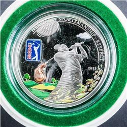 PGA Tour - .999 Fine Silver Coin - 5.00 -  Golf Ball Display
