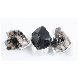 Group of 3 Quartz Crystal Rock Clusters