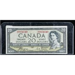 Bank of Canada 1954 20.00 Note (VF) Devil's  Face C/T