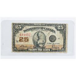 Dominion of Canada 1923 25 Cent Note