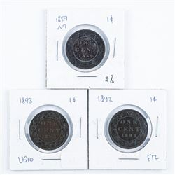 Lot (3) Canada Large Cents- 1859n9, 1892,  1893