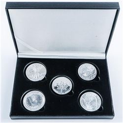 Bullion Collection 5 x .999+ Fine Silver  Rounds, 5oz ASW