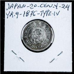Japan 20 Sen, Y-24 YR.9 1876 Type IV