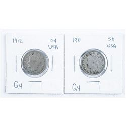 Lot (2) USA 1911 and 1912 Silver 5 Cents