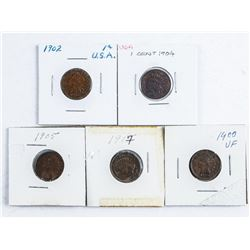 Group of (5) USA Indian Head Pennies - 1900,  1902, 1904, 1915, 1917