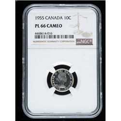 1955 Canada 10 Cents PL66 Cameo NGC