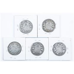Group of (5) Canada Silver 50 Cents - 1918,  1906