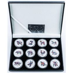 Lunar Calendar Animals 12 Coin Collection  with C.O.A