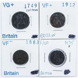 Group (4) Great Britain Farthing Coins. 1749,  1875, 1883, 1912.