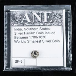 'India' Southern States Silver Fanam Coin  Issued 1700-1830 - Worlds Smallest Silver  Coin