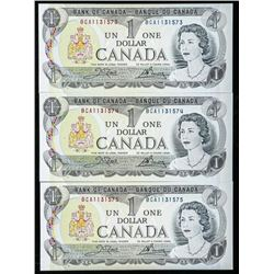 Lot (3) Bank of Canada 1973 1.00 in Sequence  UNC