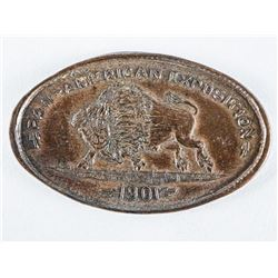 1901 Pan American Elongated Cent - Running  Buffalo.