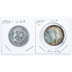 Lot (2) USA 50 Cents 1954 Liberty and 1964D  Silver JFK 50 Cents (MS67)