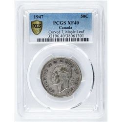 1947 Canada Silver 50 Cent PCGS. XF40 Curved  7, Maple Leaf