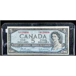 Bank of Canada 1954 5.00 Modified Portrait  B/R
