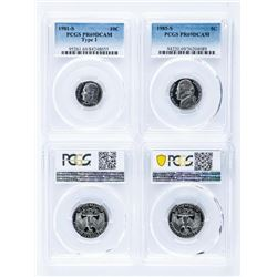 Group of (4) USA - Coins PCGS. 25 Cent -  1984S, 1985S, 1985S, PR69 DCAM, 10 Cent -  1981-S PCGS PR6