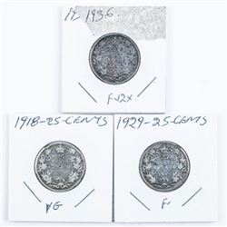 Group of (3) Silver 25 Cents 1918-1929-1936