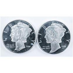 Lot (2) .999 Fine Silver Mercury Dime