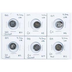 Group (6) 1853 & 1857 USA Silver 1/2 dime