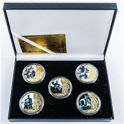 Batman Collection 5 Gold Plated and Colour  Medallions