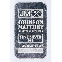 Vintage JM 1oz Bar .999 Fine Silver. No  Longer Produced