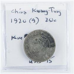 China Kwang-Tung 1920 20c. KM#423
