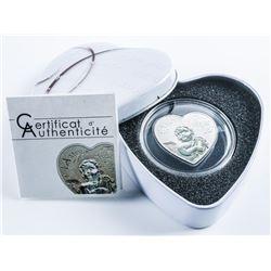 'I Love You' Heart Shape 1000 Francs Coin  925/1000 Fine Silver (BU) LE 2500