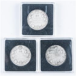 Lot (3) Canada Silver 50 Cents - 1917, 1918,  1919
