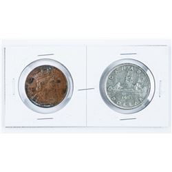 1953 Coronation Silver Dollar and Bronze  medal