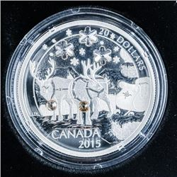 RCM 2015 'Holiday Reindeer' .999 Fine Silver  $20.00 Coin, over 1oz