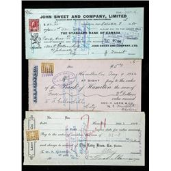 Group of (3) Vintage Bank Checks with Excise  Stamps Dated 1920, 1922, 1923