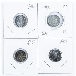 Group of (4) Silver CANADA 10 Cents Coin:  1946, 1948, 1960, 1965