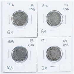 Group (4) USA 5 Cents - 1896, 1911, 1912,  1912