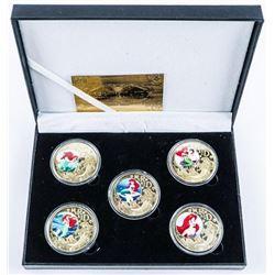 Little Mermaid Gold Plated LE Medallion Set.  5 Medallion