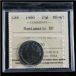 1980 Canada 25 Cent MS-63 Numismatic BU ICCS