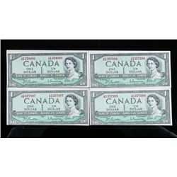 Group of (4) Bank of Canada 1954 1.00 in  Sequence - Cutting Errors