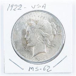 1922 USA Silver Peace Dollar MS62