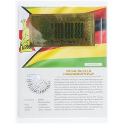 Reserve Bank of Zimbabwe Five Octillion  Dollars 24kt Gold Commemerative Issue with  Art Card