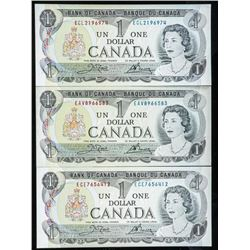 Group of (3) Bank of Canada 1973 1.00 in  Sequence