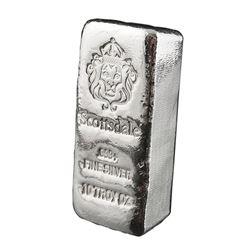 USA - .999 Fine Silver 10oz Lion Hand Poured Chunk Bar - Collector Bullion.