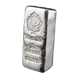 USA - .999 Fine Silver 10oz Lion Hand Poured Chunk Bar - Collector Bullion.