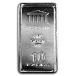USA - .999 Fine Silver 10oz Stacker Academy Bar. Collector Bullion. Anti-Forgery Swirl Pattern au Ve