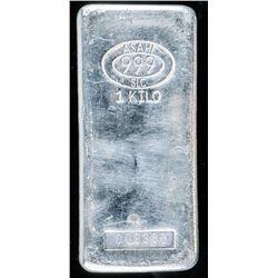 .999 Fine Silver 1 Kilo Hand Poured Bar - Very Collectible.