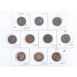 Group (10) Canada and NFLD Large Cent Coins
